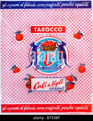 Printed ephemera / Citrus fruit wrapper from Italy - Kangaroos holding basket illustration on tissue paper. - Stock Photo