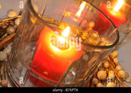 Christmas table centerpiece with three candles and blue ornaments stock photo royalty free - Appealing christmas led candles for christmas decorations ...