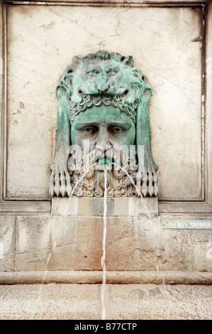 Gargoyle at fountain, Place de la Republique, Arles, Bouches-du-Rhone, Provence-Alpes-Cote d'Azur, Southern France, - Stock Photo