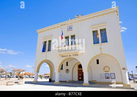 Town hall, Hotel de Ville, Les Saintes-Maries-de-la-Mer, Camargue, Bouches-du-Rhone, Provence-Alpes-Cote d'Azur, - Stock Photo