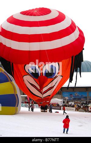 Inflation of a hot-ar balloon, special clown shape, Schroeder fire balloons Clown SS, hot-air balloon, International - Stock Photo