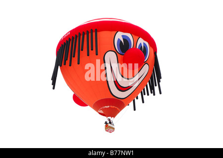 Hot-air balloon in flight, special clown shape, Schroeder fire balloons Clown SS, hot-air balloon, International - Stock Photo