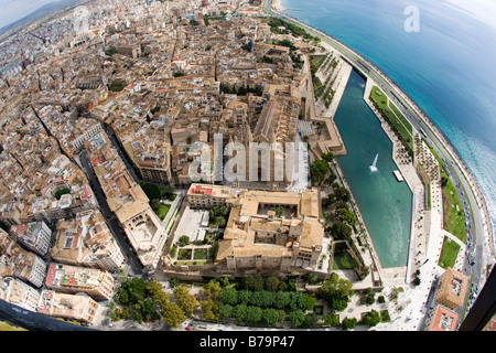 Aerial view over the City of Palma de Mallorca with Gothic Cathedral, parque de mar - Stock Photo