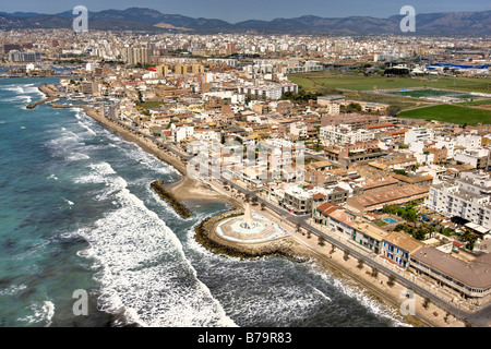Portixol Mallorca Balearic Islands Spain A view of the town and beach - Stock Photo