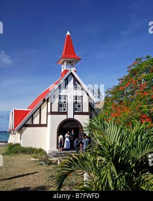 Wedding in Eglise de Cap Malheureux Mauritius Africa - Stock Photo