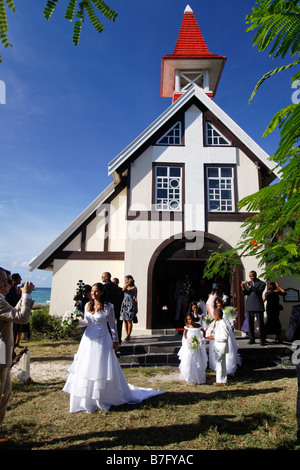 Wedding in Eglise de Cap Malheureux Mauritius Africa - Stock Photo