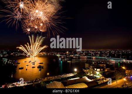 Fireworks, Cowes Regatta Week - Stock Photo