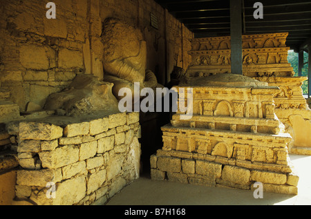 Stupa in Buddhist Monastery in Jaulian Taxila Pakistan - Stock Photo