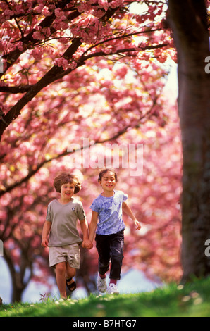 Two six year old girls run through a cherry orchard holding hands - Stockfoto