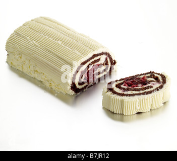 raspberry white chocolate roulade swiss roll - Stock Photo