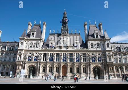 Town hall / Hotel de Ville of Paris, France, Europe - Stock Photo