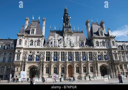Town hall / Hotel de Ville, Paris, France, Europe - Stock Photo