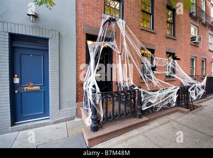 Halloween decorations outside house in Greenwich Village, New York, USA - Stock Photo