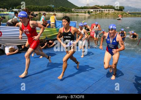 Kiyomi Niwata JPN AUGUST 18 2008 Triathlon Beijing 2008 Summer Olympic Games Womens Swim at Triathlon Venue Beijing - Stock Photo