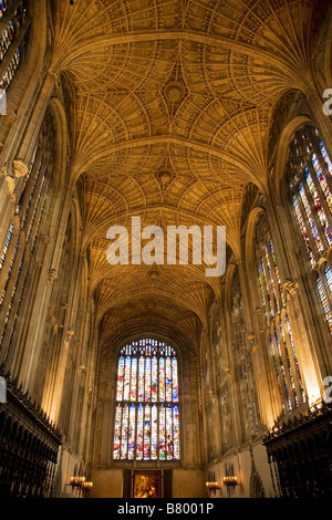 King's College Chapel Cambridge vaulted ceiling - Stock Photo