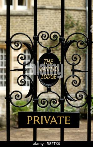 A gate in Jesus College Cambridge marked Private The Masters Lodge - Stock Photo