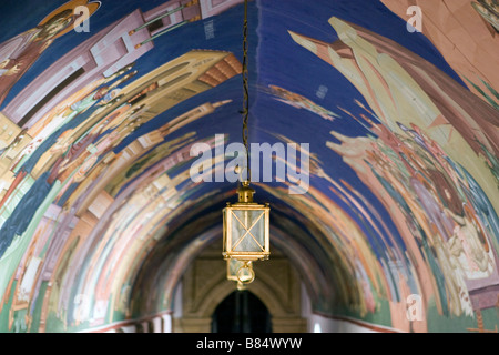 Archway murals and lantern in Kykkos Monastery,Troodos mountains, South Cyprus. - Stockfoto