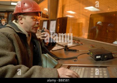 Arbeitnehmer bei Donezk Stahlwerk in der Ostukraine das Stahlwerk von ISTIL Gruppe betrieben wird - Stockfoto