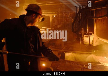 Workers at Donetsk steel mill in Eastern Ukraine The steel plant is run by ISTIL group - Stock Photo