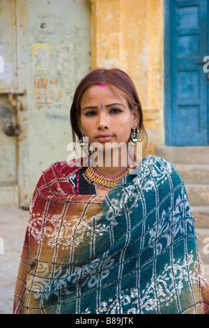 Indian girl Jaisalmer Rajasthan India - Stock Photo