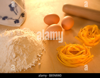 eggs pasta and flour - Stock Photo