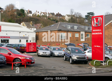 Cars On A Honda Car Dealers Retailers Garage Forecourt   Stock Photo