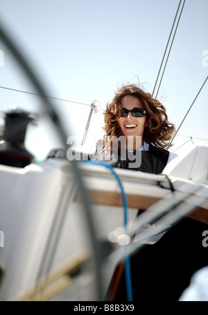 woman,white European sailing a yacht. - Stock Photo