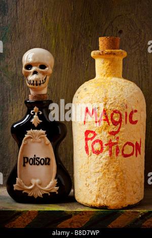 Bottle of poison bottle of magic potion - Stock Photo