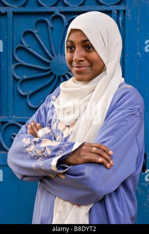 Muslim girl in traditional dress, Esna, Egypt - Stock Photo