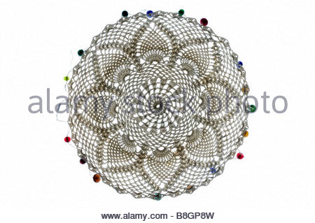 decorative doily made from lace - Stock Photo
