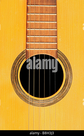 Detail of the acoustic guitar - resonant - Stockfoto