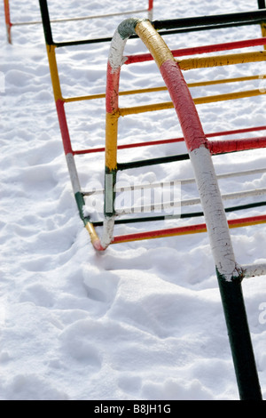 Colourfull wavy staircase on winter playground. - Stock Photo