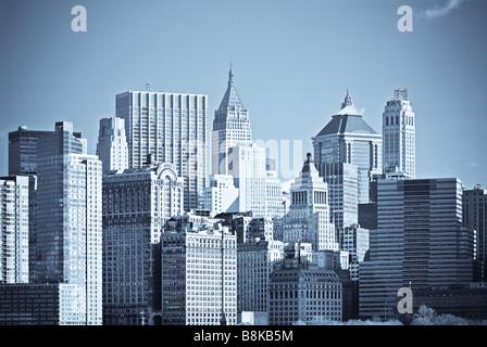 panorama of manhattan new york - Stock Photo