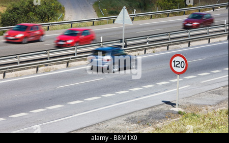 highway with speed limit sign 120 km h germany stock. Black Bedroom Furniture Sets. Home Design Ideas