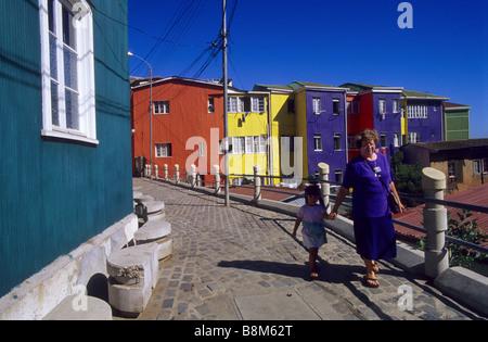 Multicoloured houses in Cerro Bellavista Valparaíso Chile - Stock Photo