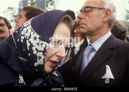 Mrs Thatcher Denise Thatcher Conservative party election campaign 1983 Midlands Warwickshire UK - Stockfoto