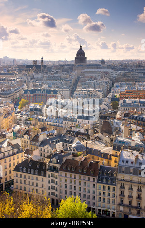 View over Paris to the Pantheon Dome Paris France - Stock Photo