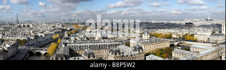 Elevated panoramic view over Paris France - Stock Photo