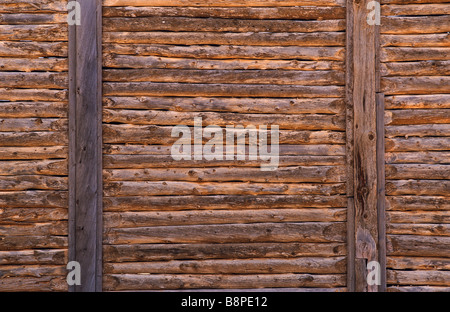 drop-log wall construction, outback Australia - Stock Photo