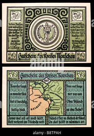 Notgeld, or emergency Money, used in Germany in the 1920s. 50pf note from Moschau, 1921 - Stock Photo