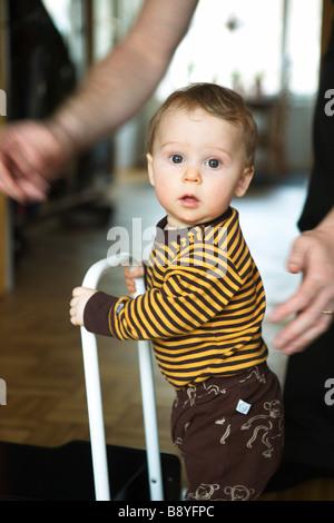 A boy learn to walk Sweden. - Stock Photo