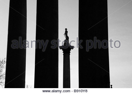Nelson's Column seen through the columns of St Martin-in-the-Fields church, Trafalgar Square, London - Stock Photo