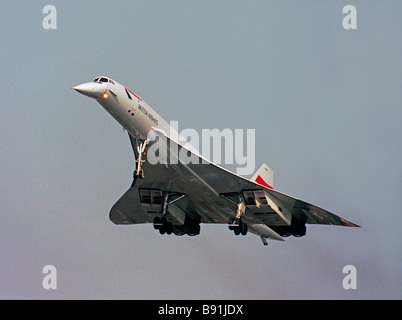 British Airways Aerospatiale Concorde landing at London Heathrow - Stock Photo