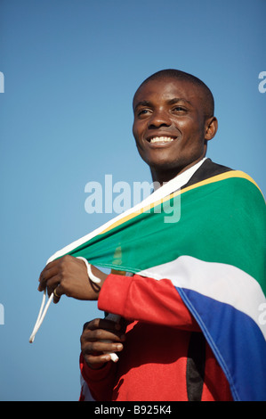 Soccer player with South African flag Pretoria Gauteng Province South Africa - Stockfoto