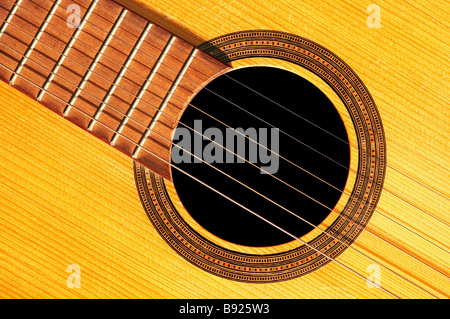 Detail of the acoustic guitar  - strings and resonant - Stockfoto