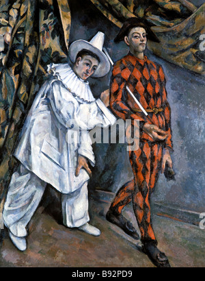 Paul Cezanne 1839 1906 Pierrot and Harlequin Oil on canvas 1888 Pushkin Museum of Fine Arts Moscow - Stock Photo