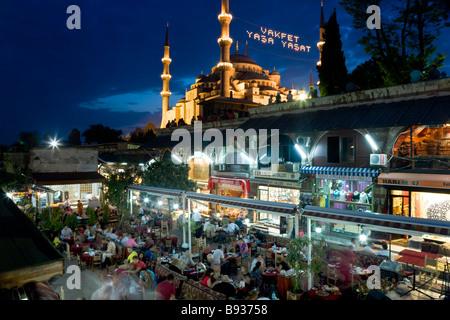 The Blue Mosque or Sultan Ahmet Mosque 1609 1616 restaurant Sultanahmet District Istanbul Turkey - Stock Photo
