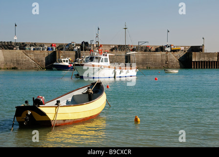 fishing boats in newquay harbour,cornwall,uk - Stock Photo