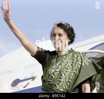 Indian Prime Minister Indira Gandhi saying good buy to the residents of the Tallinn city during her visit to the - Stock Photo