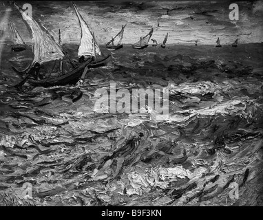 A reproduction of Vincent Van Gogh s painting Seascape at Saint Marie From the collection of the Pushkin Museum - Stock Photo